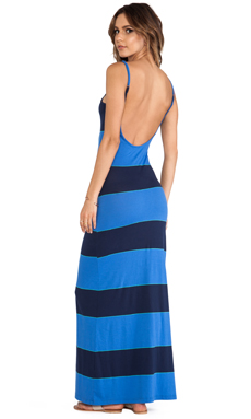 Bobi Light Weight Jersey Stripe Maxi Dress in Blue Stripe