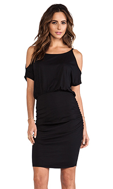 Bobi Jersey Open Shoulder Dress in Black