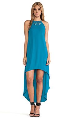 Bobi BLACK Halter Asymmetrical Dress in Teal