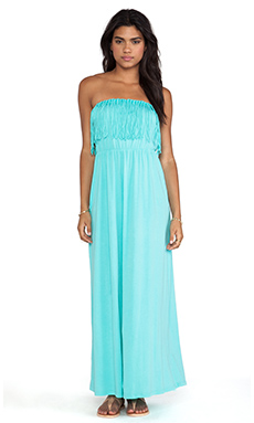 Bobi Supreme Jersey Strapless Maxi Dress in Aqua
