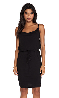 Bobi Supreme Jersey Tie Waist Dress in Black