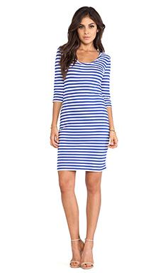 Bobi Light Weight Jersey Stripe Dress in Ultrablue & White