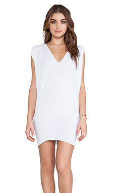 Bobi Light Weight Jersey Batwing Dress in White