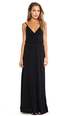 Bobi Modal Jersey V-Neck Tank Maxi Dress in Black