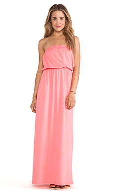 Bobi Supreme Jersey Strapless Maxi Dress in Sunset