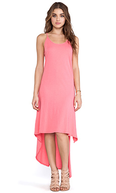 Bobi Light Weight Jersey Asymmetric Tank Dress in Sunset