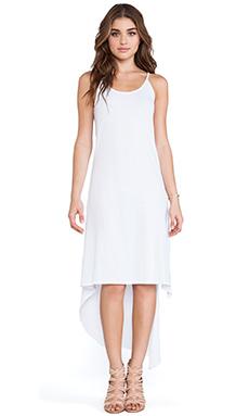 Bobi Light Weight Jersey Asymmetric Tank Dress in White