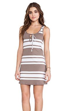 Bobi Light Weight Jersey Mini Dress in Java & White