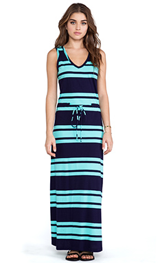 Bobi Light Weight Jersey Striped Maxi Dress in Yacht & Aqua