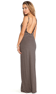 Bobi Light Weight Jersey Striped Maxi Dress in Java & Black