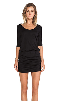 Bobi Supreme Jersey Long Sleeve Mini Dress in Black