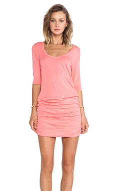 Bobi Supreme Jersey Long Sleeve Mini Dress in Sunset