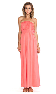 Bobi Supreme Jersey Fringe Maxi Dress in Sunset