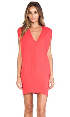 Bobi Light Weight Jersey Batwing Dress in Berry Red