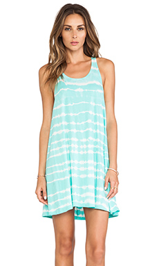 Bobi Light Weight Tie Dye Jersey Racerback Mini Dress in Aqua