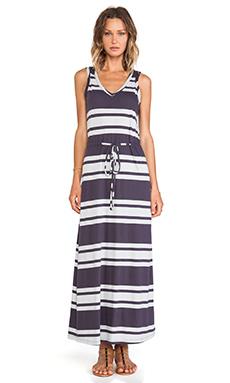 Bobi Light Weight Jersey Striped Maxi Dress in Deep Grey & Shore