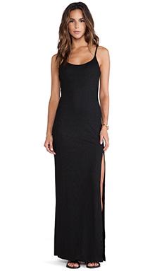 Bobi BLACK Shimmer Rib Maxi Dress in Black