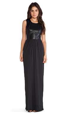 Bobi Vegan Leather Maxi Dress in Black
