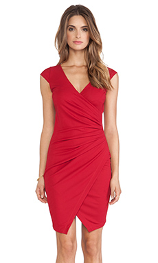 Bobi BLACK Jersey Wrap Dress in Dark Red