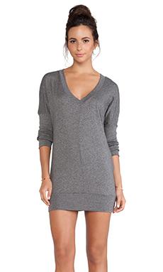 Bobi Long Sleeve Jersey V-Neck Dress in Dark Heather