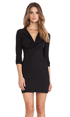 Bobi Long Sleeve Mini Dress in Black