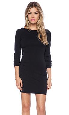 Bobi Spandex Low Back Mini Dress in Black