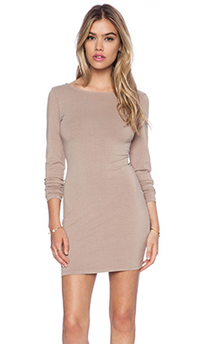 Bobi Spandex Low Back Mini Dress in Taupe