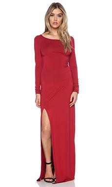 Bobi Rayon Rayon Jersey Long Sleeve Maxi Dress in Deep Red