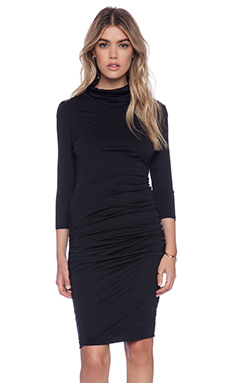 Bobi Modal Jersey Turtleneck Midi Dress in Black