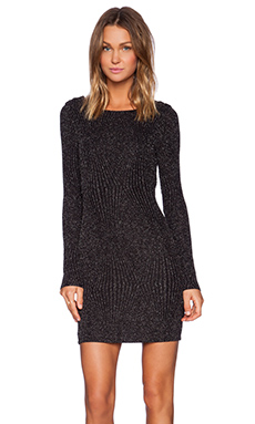 Bobi Metallic Long Sleeve Boucle Dress in Silver