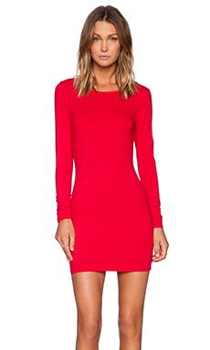 Bobi Spandex Low Back Mini Dress in Deep Red