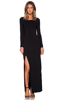 Bobi Rayon Jersey Long Sleeve Maxi Dress in Black
