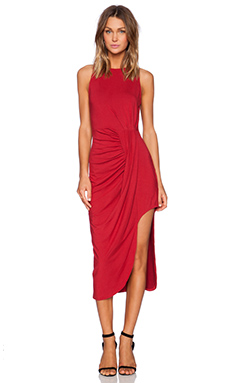 Bobi Rayon Jersey Asymmetrical Tank Dress in Deep Red