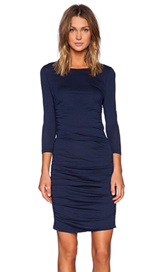 Bobi Modal Jersey Ruched Midi Dress in Soldier