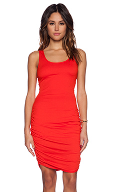Bobi Modal Jersey Ruched Dress in Candy Red