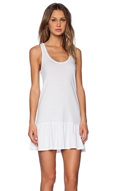 Bobi Light Weight Jersey Mini Dress in White