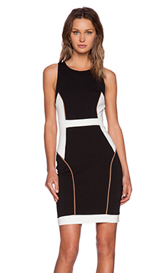 Bobi BLACK Mixed Knits Bodycon Dress in Black Combo