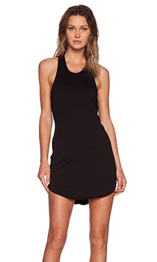 Bobi Light Weight Cashmere Terry Dress in Black