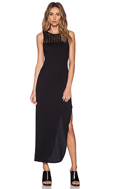 Bobi Pima Cotton w/ Perforated Trim Maxi Dress in Black