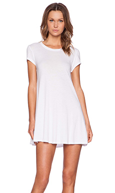 Bobi Light Weight Jersey Short Sleeve Dress in White