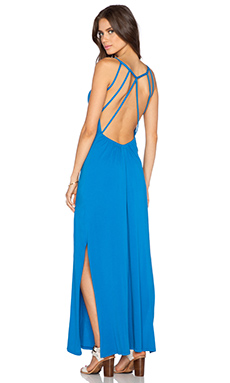 Bobi Supreme Jersey Open Back Maxi Dress in Periwinkle