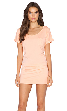 Bobi Supreme Jersey Short Sleeve Dress in Peachy