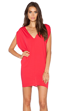 Bobi Light Weight Jersey Batwing Dress in Light Raspberry