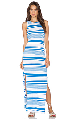 Bobi Runway Stripe Side Slit Maxi Dress in Peri & White