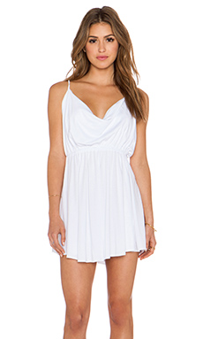 Bobi Modal Jersey Drape Front Dress in White