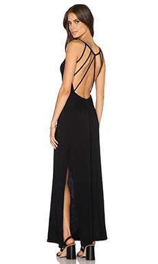 Bobi Supreme Jersey Open Back Maxi Dress in Black