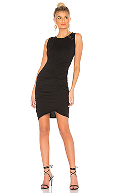 Bobi Supreme Jersey Ruched Mini Dress in Black