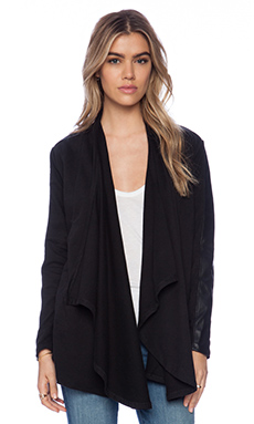 Bobi Cashmere Terry Drapey Cardigan in Black