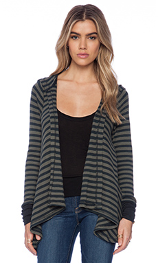 Bobi Striped Thermal Cardigan in Pine Tree & Moss