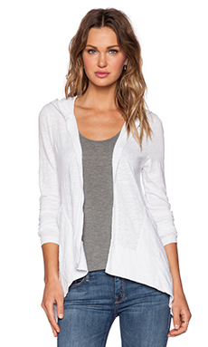 Bobi Slub Jersey Cardigan in White
